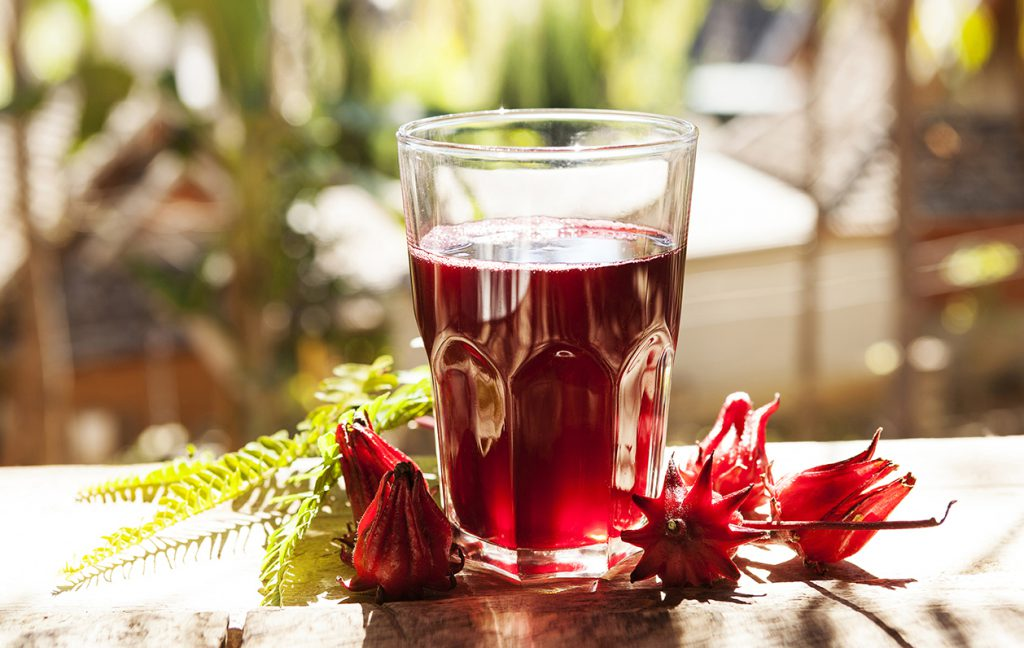 Cup of hibiscus tea. Drink made from roselle flowers.
