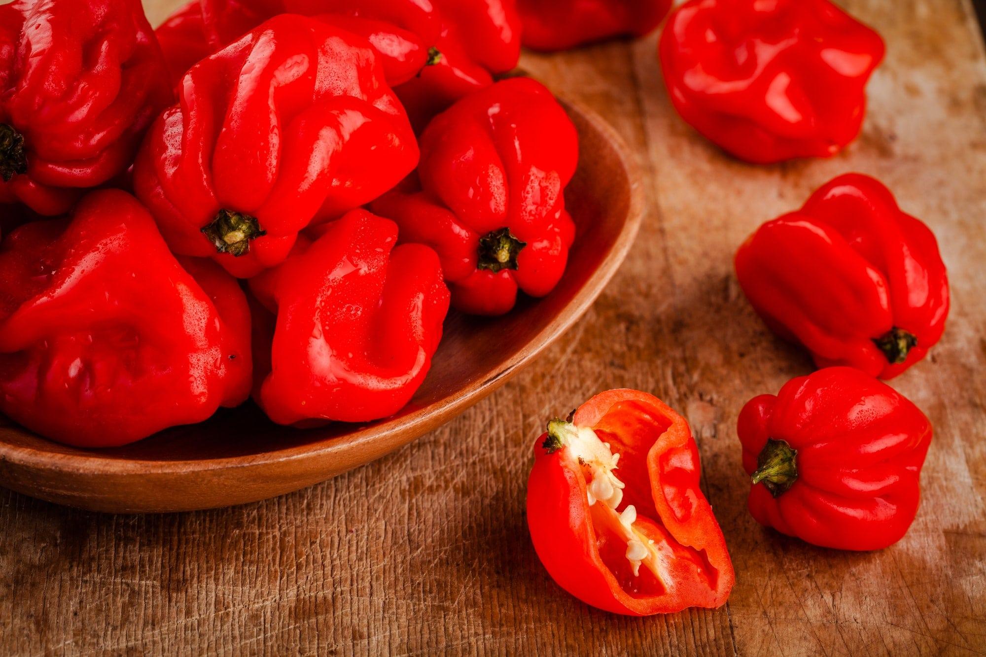 fresh red hot habanero chili peppers