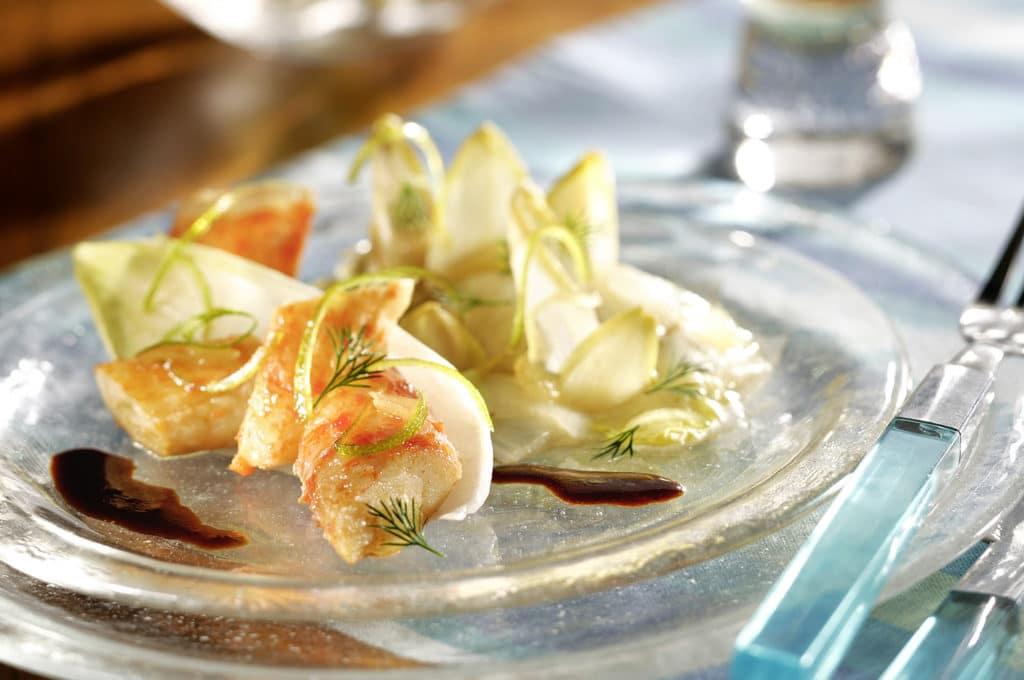 Recette 3 : Fricassée de crabe et endives confites au gingembre
