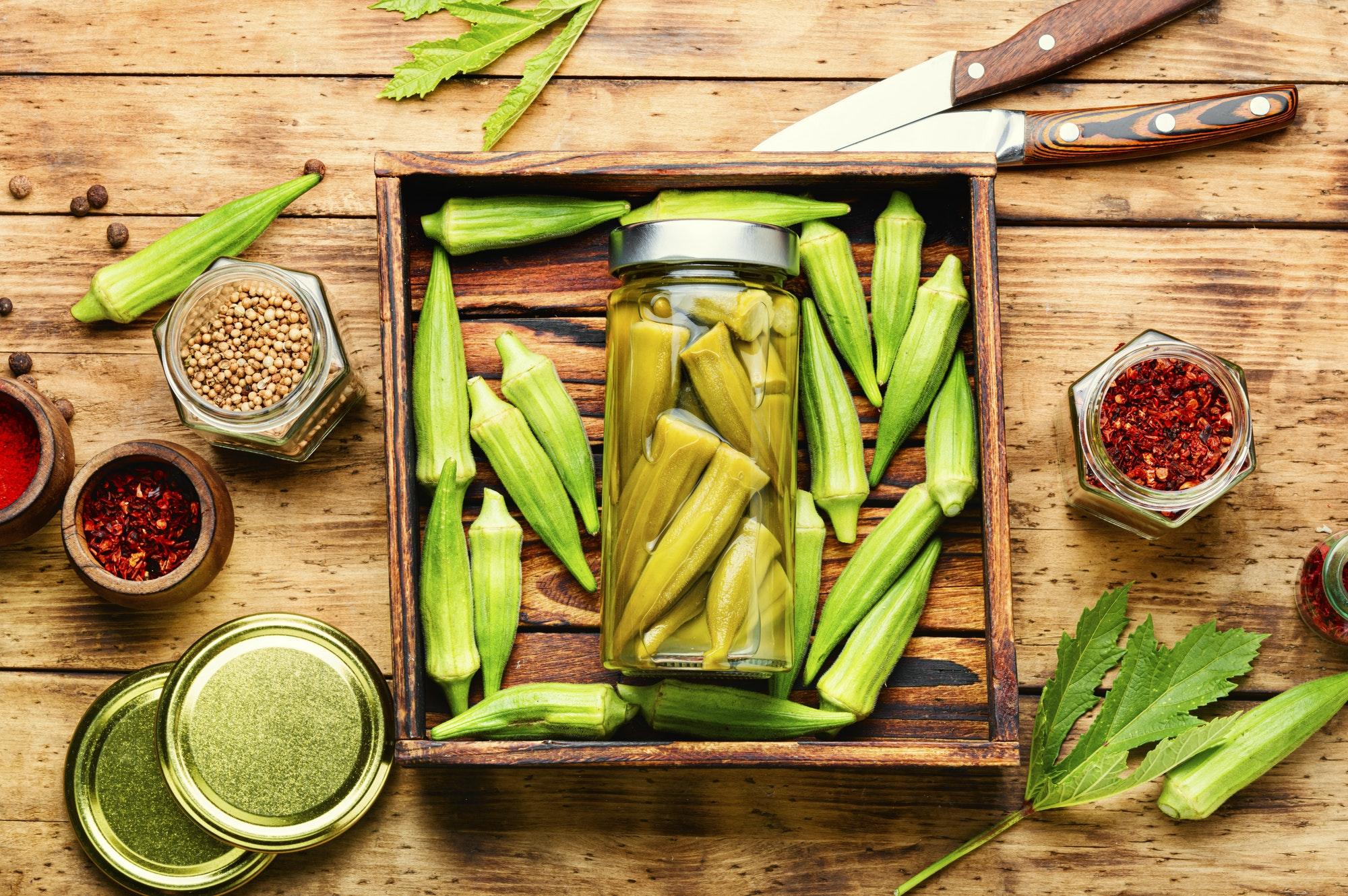 Canned okra in jars